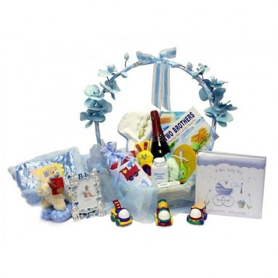 Baby Boy Blue Hamper 50cm Basket- Platinum